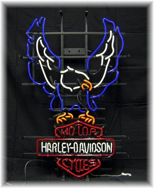 Harley Davidson Large Full Eagle Neon Bar Sign - Free