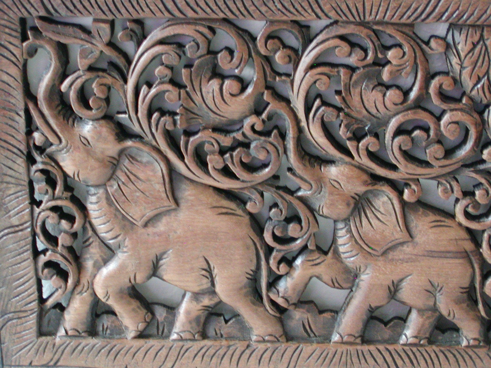 Teak wood elephant carving handmade in