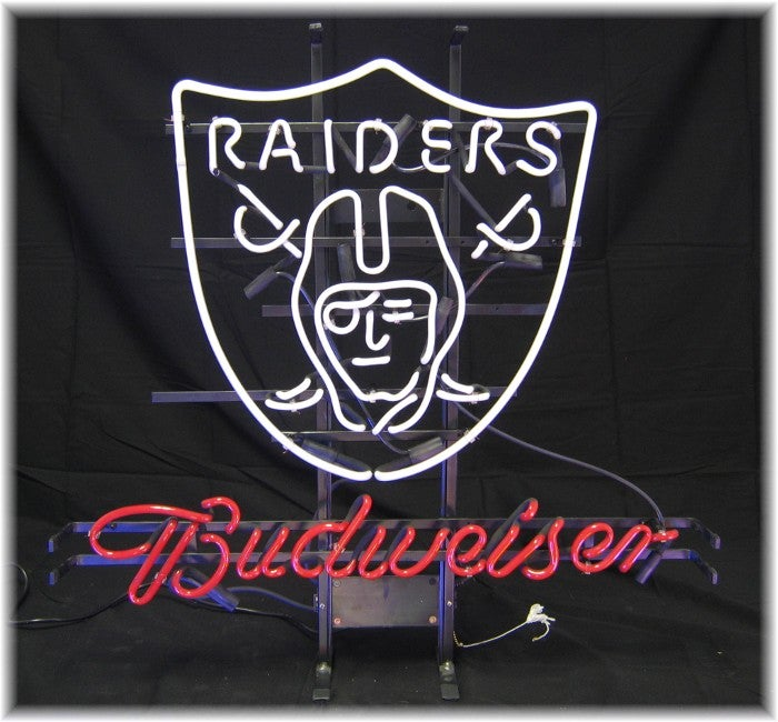 Budweiser Oakland Raiders Neon Bar Sign - Free Shipping