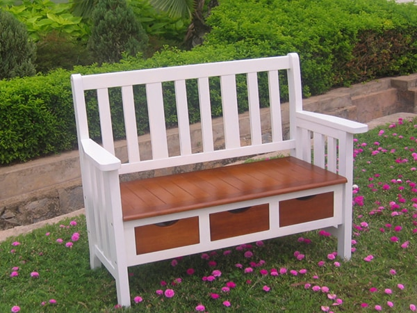 3-drawer Large UV Painted Acacia Bench w/ Arms - Thumbnail 1