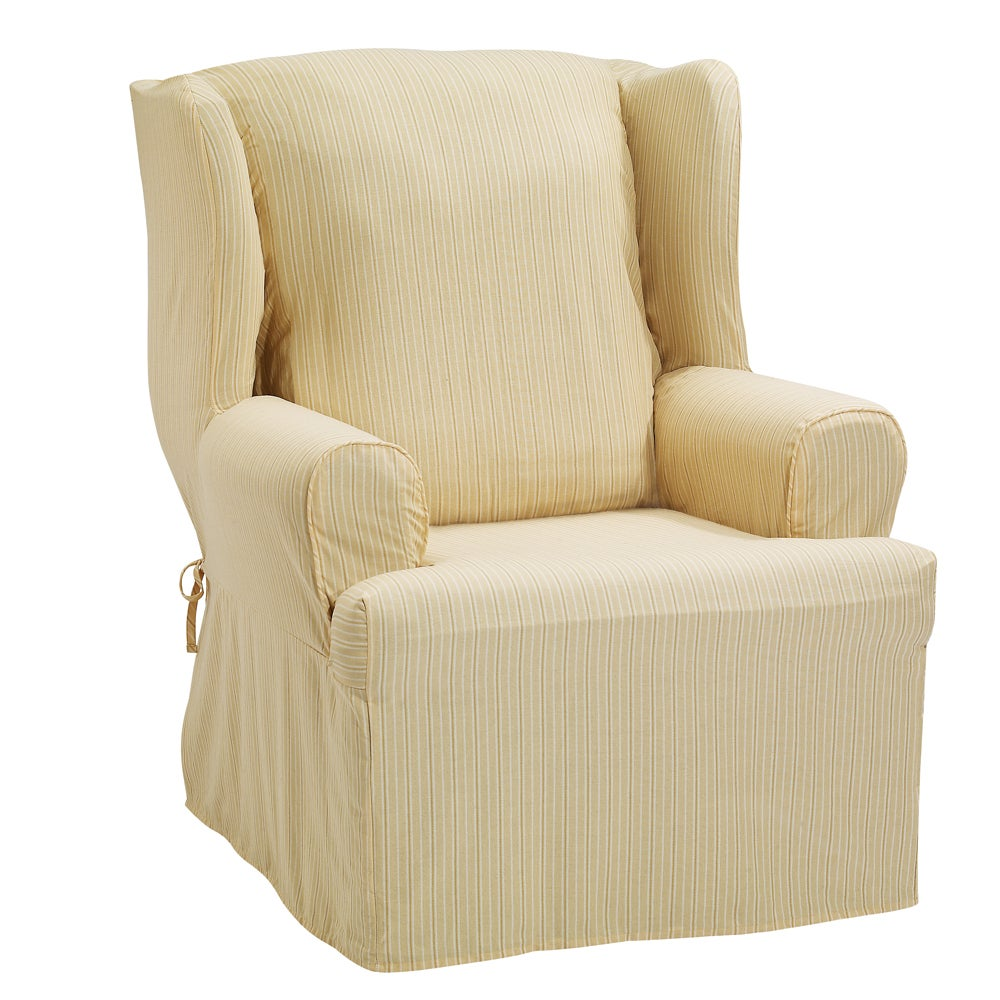 Sure Fit Hamilton Stripe Wing Chair Slipcover - Thumbnail 1