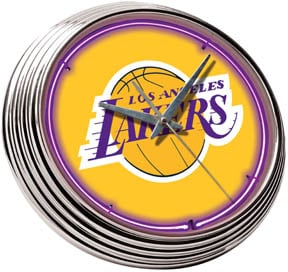 Neon Garage Clock with Los Angeles Lakers Logo