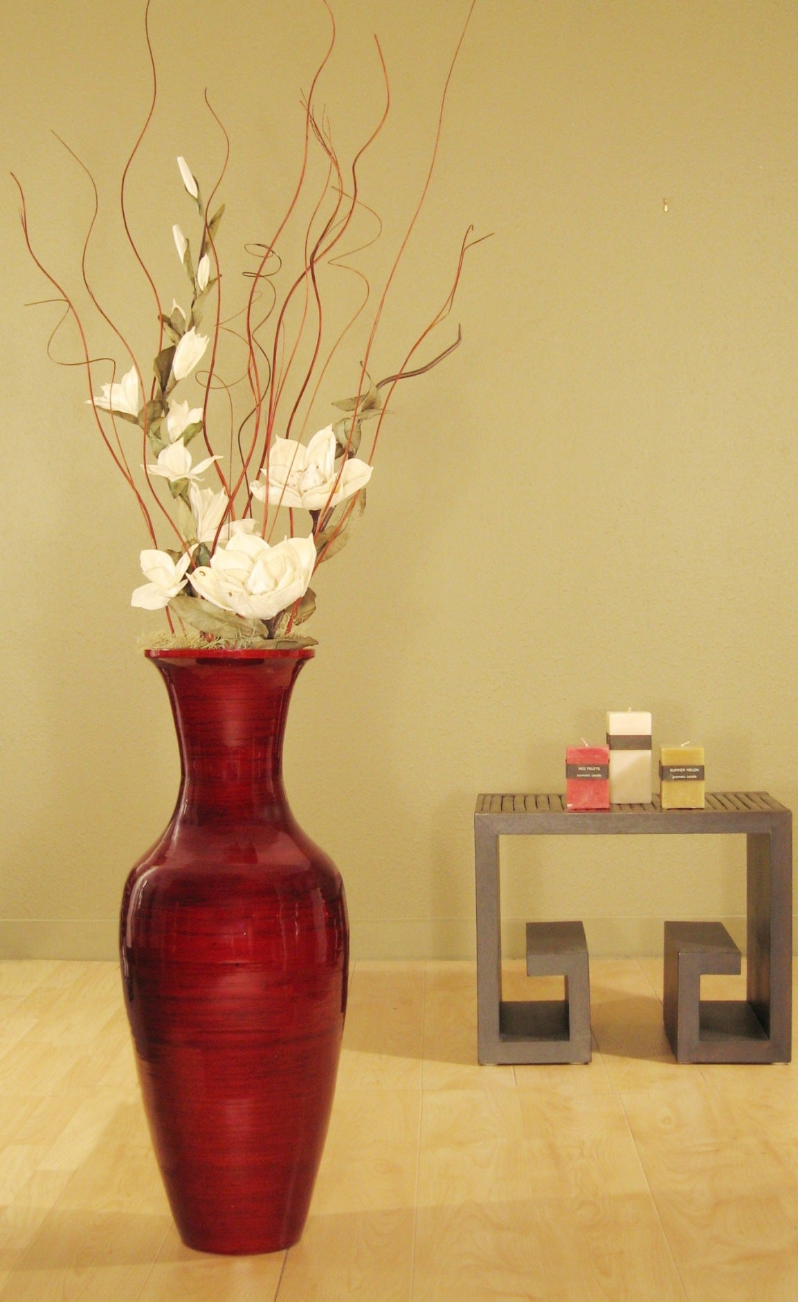 Bamboo Floor Vase And White Magnolias Free Shipping Today Overstock Com 11052380