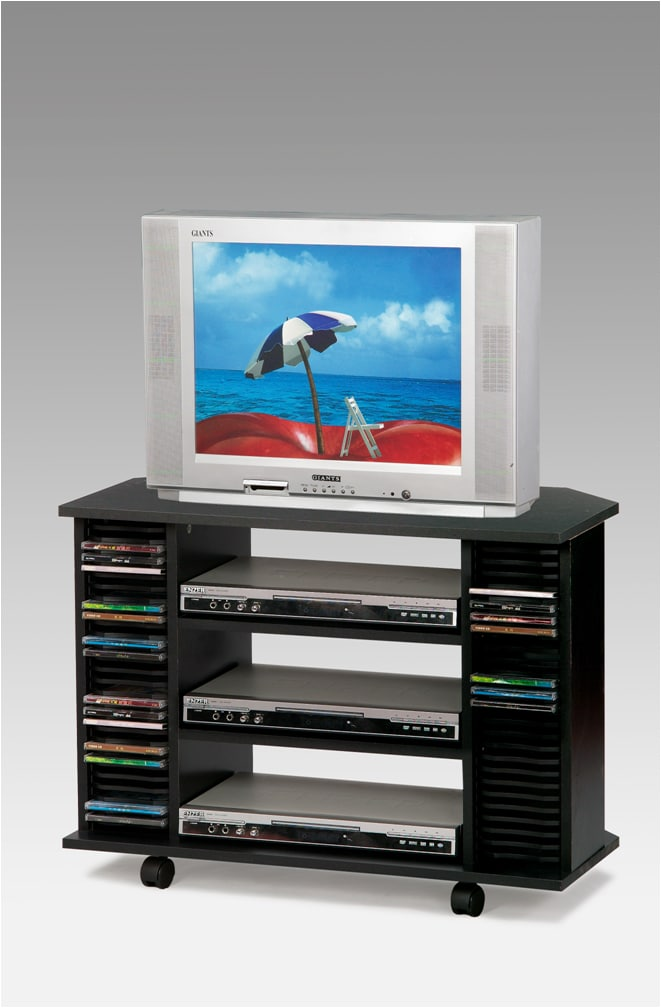 Black TV Cart with Casters