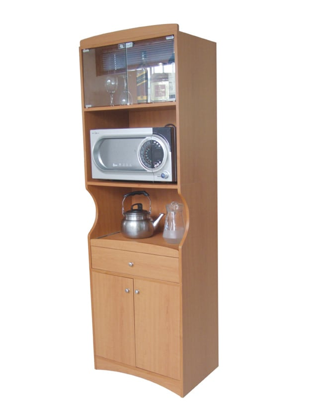 Cherry Finish Tall Microwave Cabinet - Thumbnail 1
