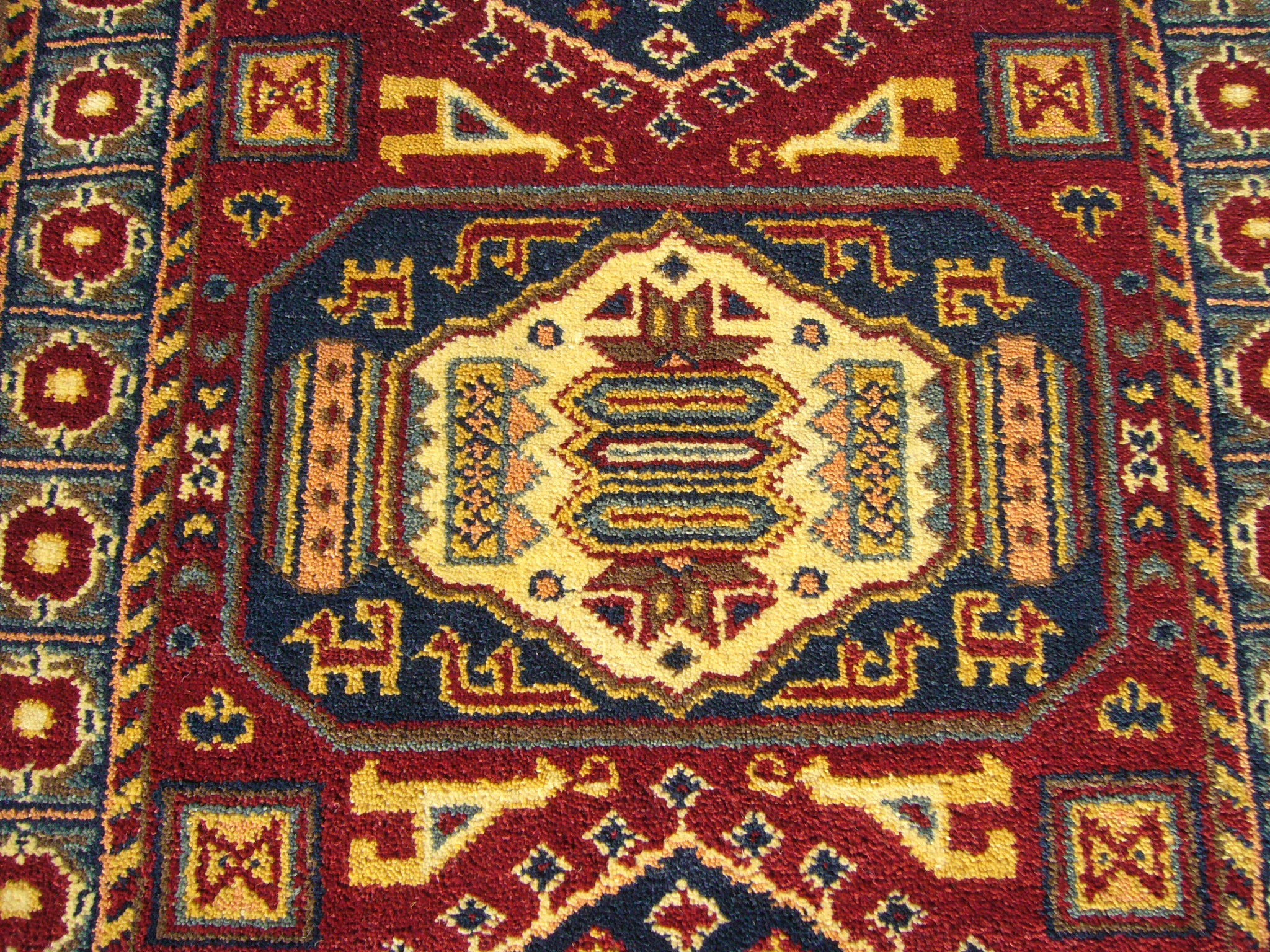 Indo Kazak Hand-knotted Red/Gray Rug (3' x 5') - Thumbnail 1