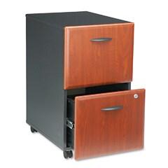 Bush Mobile 2-Drawer File Cabinet - Cherry/Marbled Slate