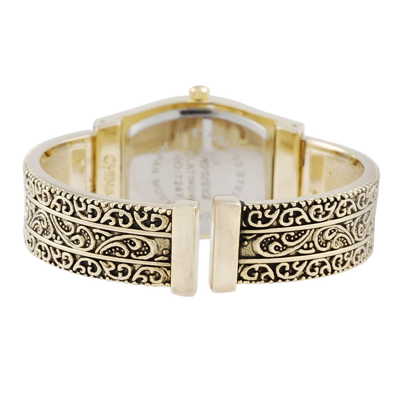 Geneva Platinum Women's Filigree Cuff Watch - Thumbnail 1