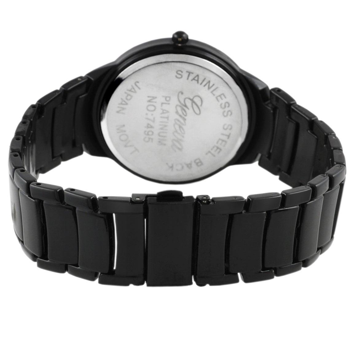 Geneva Platinum Men's Round Bezel Link Watch - Thumbnail 1