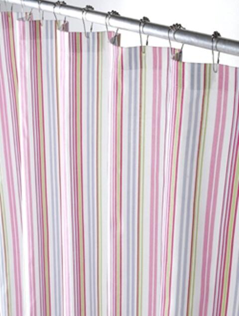 Multi Pastel Stripe Canvas Shower Curtain