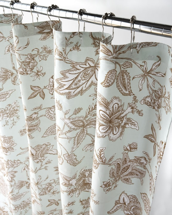 Blue And Tan Jacobean Canvas Shower Curtain