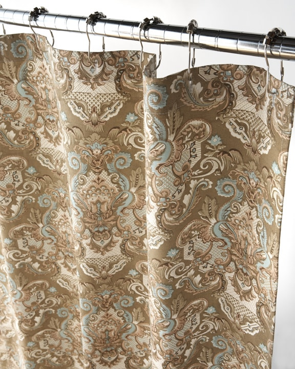 Thumbnail Royale Tan And Aqua Damask Shower Curtain
