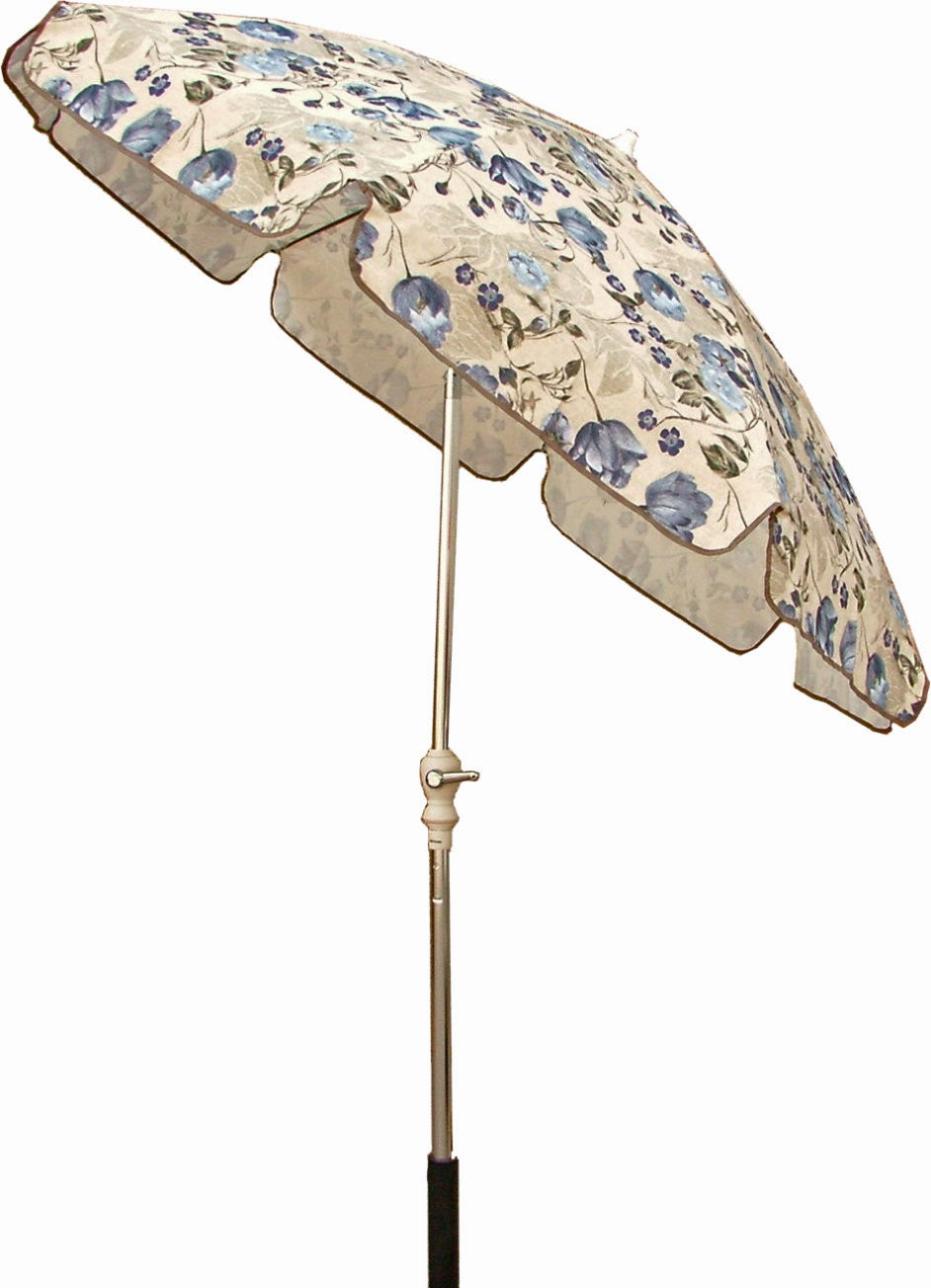 Blue Beige Floral 7 5 Foot Patio Umbrella Free Shipping