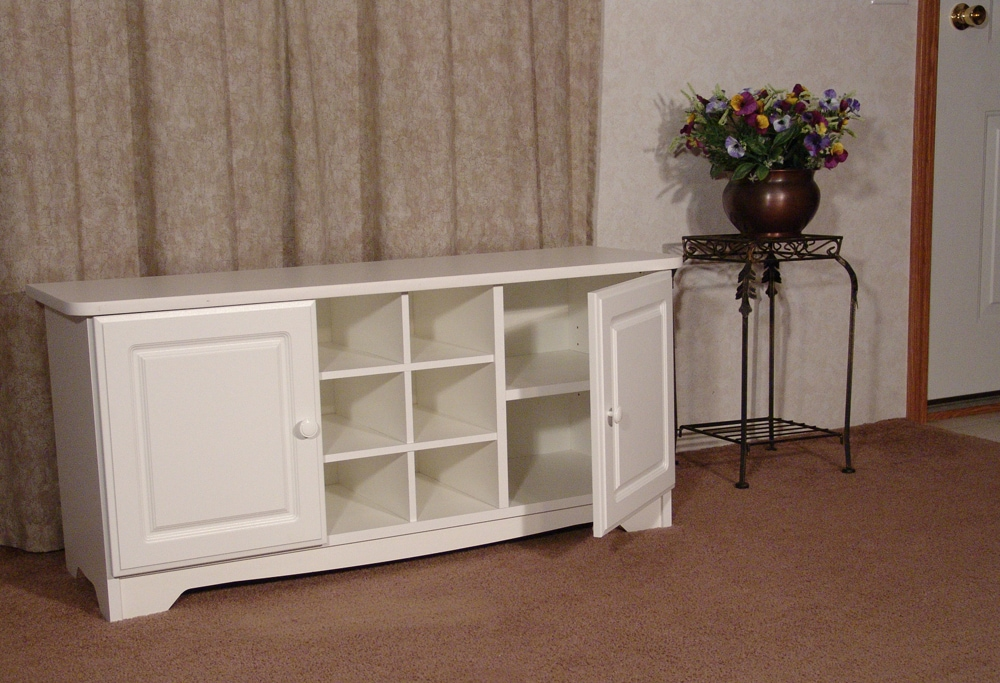 White Cubby Bench with Doors - Thumbnail 1