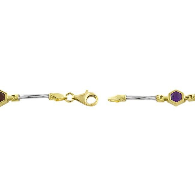 14k Gold Hexagon Semi-precious Stone Bracelet