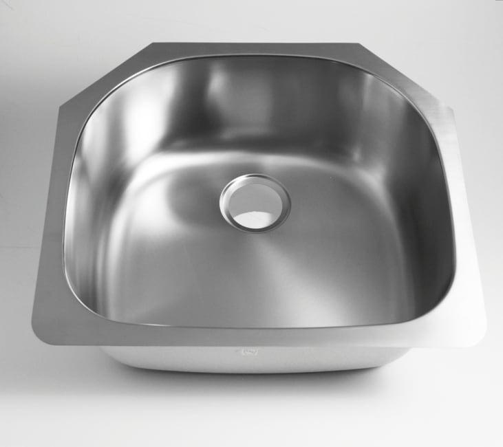 DeNovo Single Stainless Steel Undermount D-shape Sink