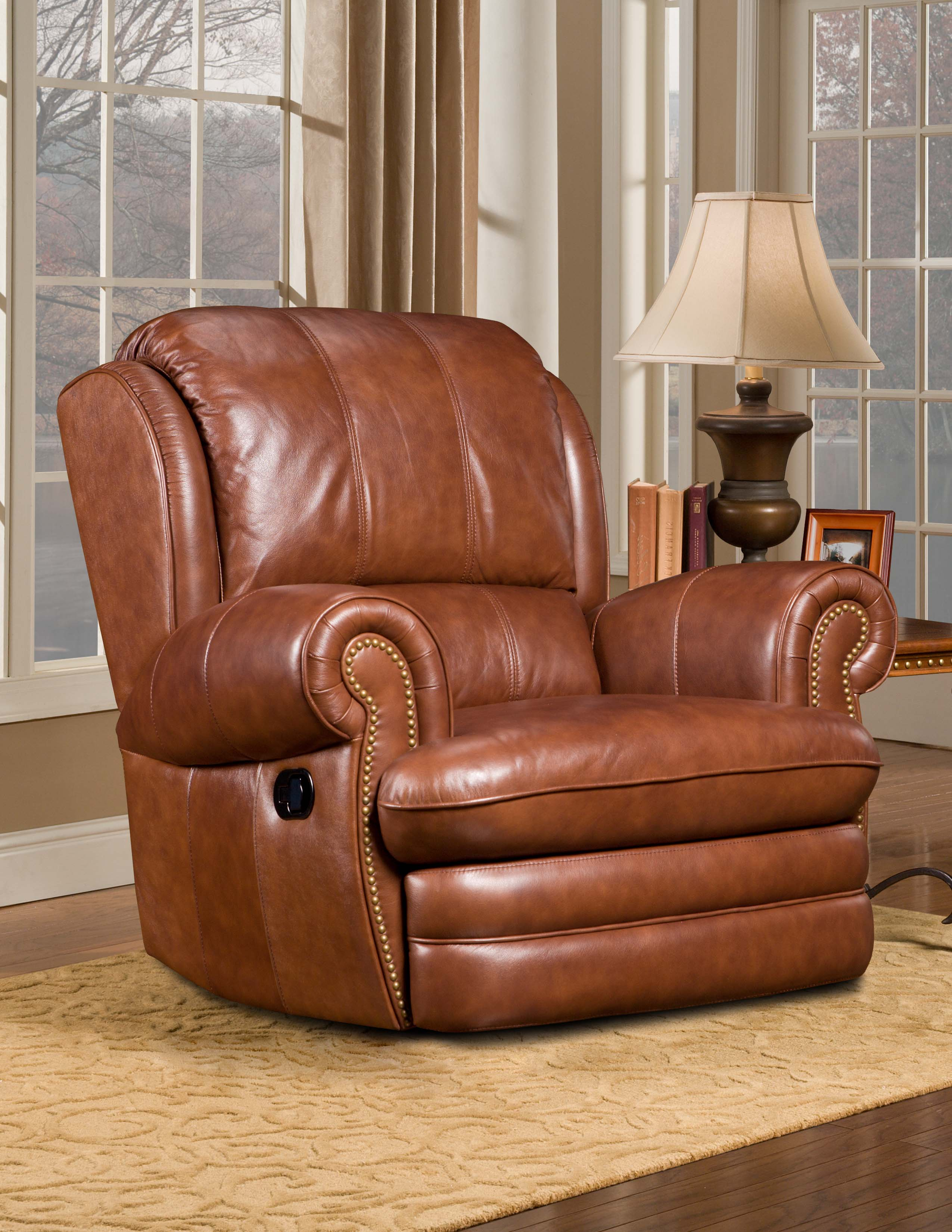 willford brandy leather swivel rocker recliner free shipping