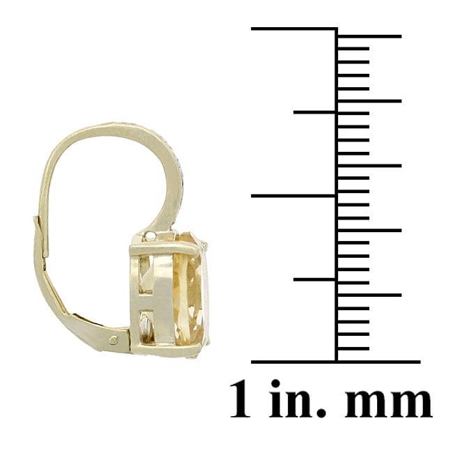 Glitzy Rocks 18k Gold Overlay Citrine and Diamond Accent Earrings