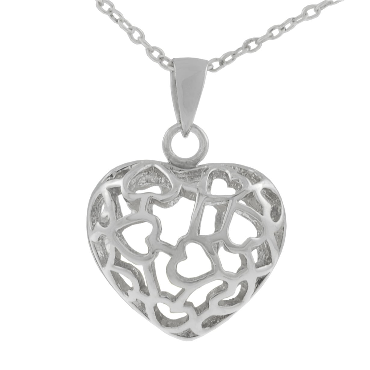 Journee Sterling Silver Heart with Stones Inside Necklace