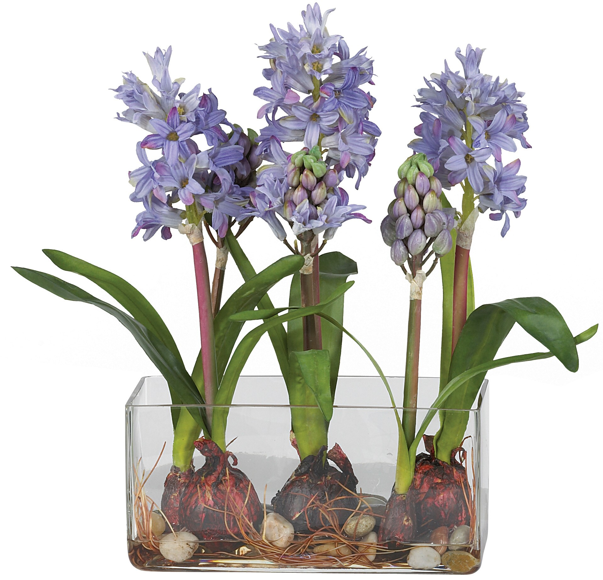 Rectangle Vase with Hyacinth Silk Flowers - Thumbnail 1