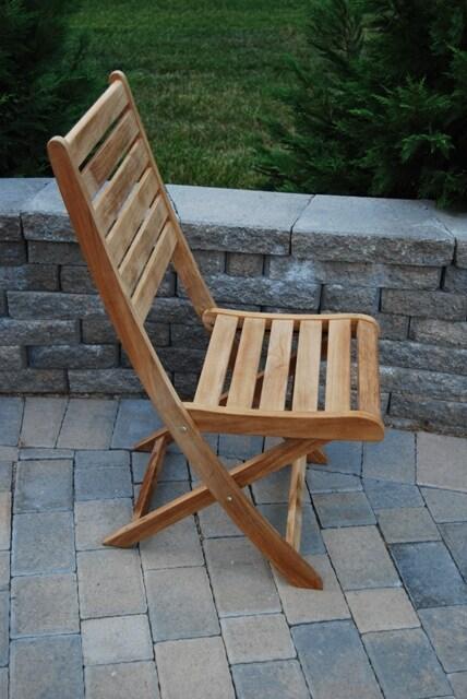 St. Bart Teak Folding Patio Chair (Set of 2) - Thumbnail 1