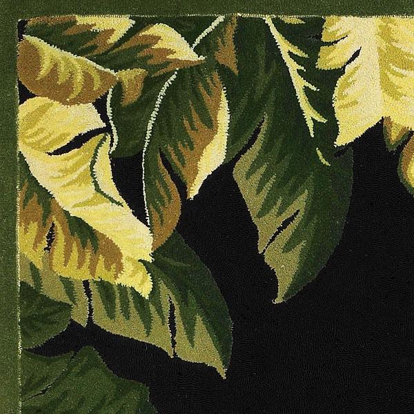 Hand Hooked Tropical Banana Leaf Wool Rug 5 X 8 Free