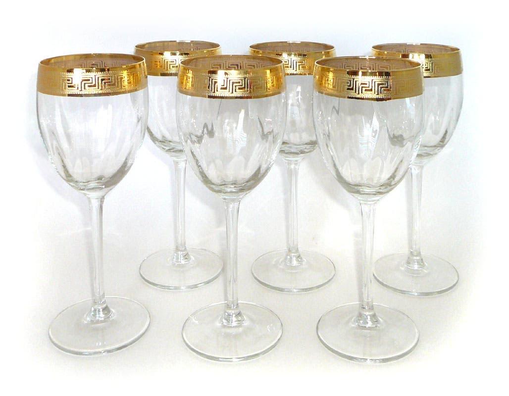 14k Gold Trimmed Wine Gles