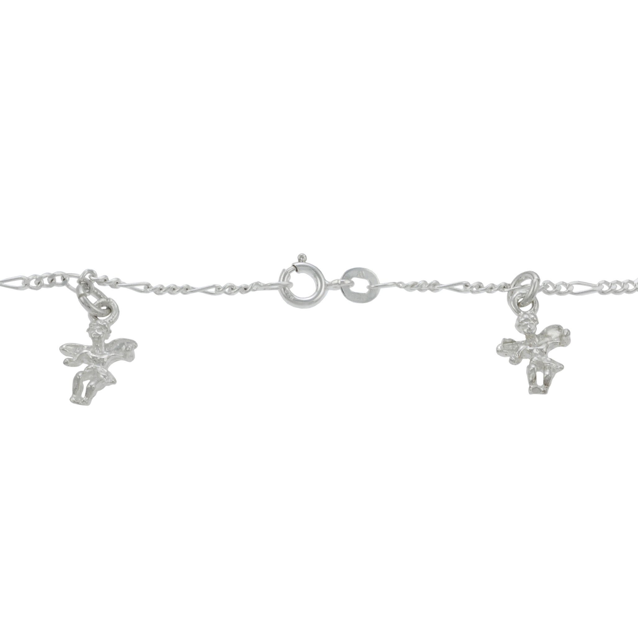 Journee Sterling Silver Dangling Angels Charm Bracelet - Thumbnail 1