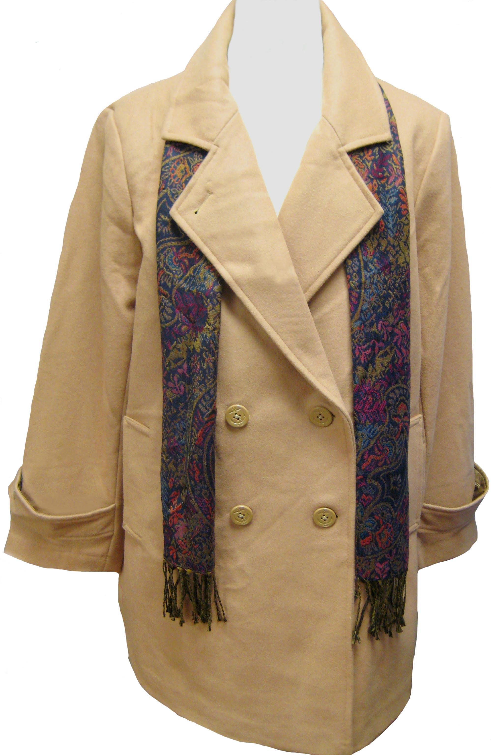 Komitor Women's Plus Size Wool Pea Coat - Thumbnail 1