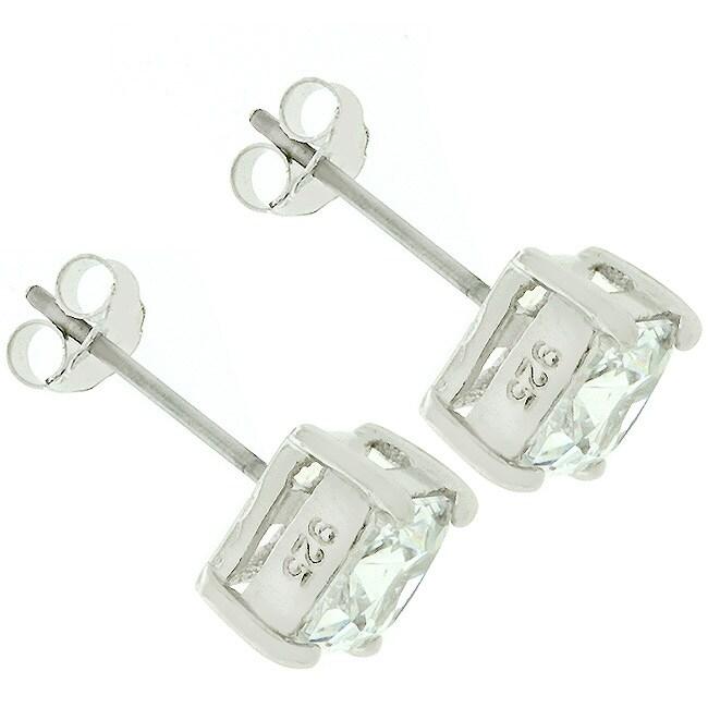 Kate Bissett 14k Gold over Sterling Silver CZ Stud Earrings - Thumbnail 1