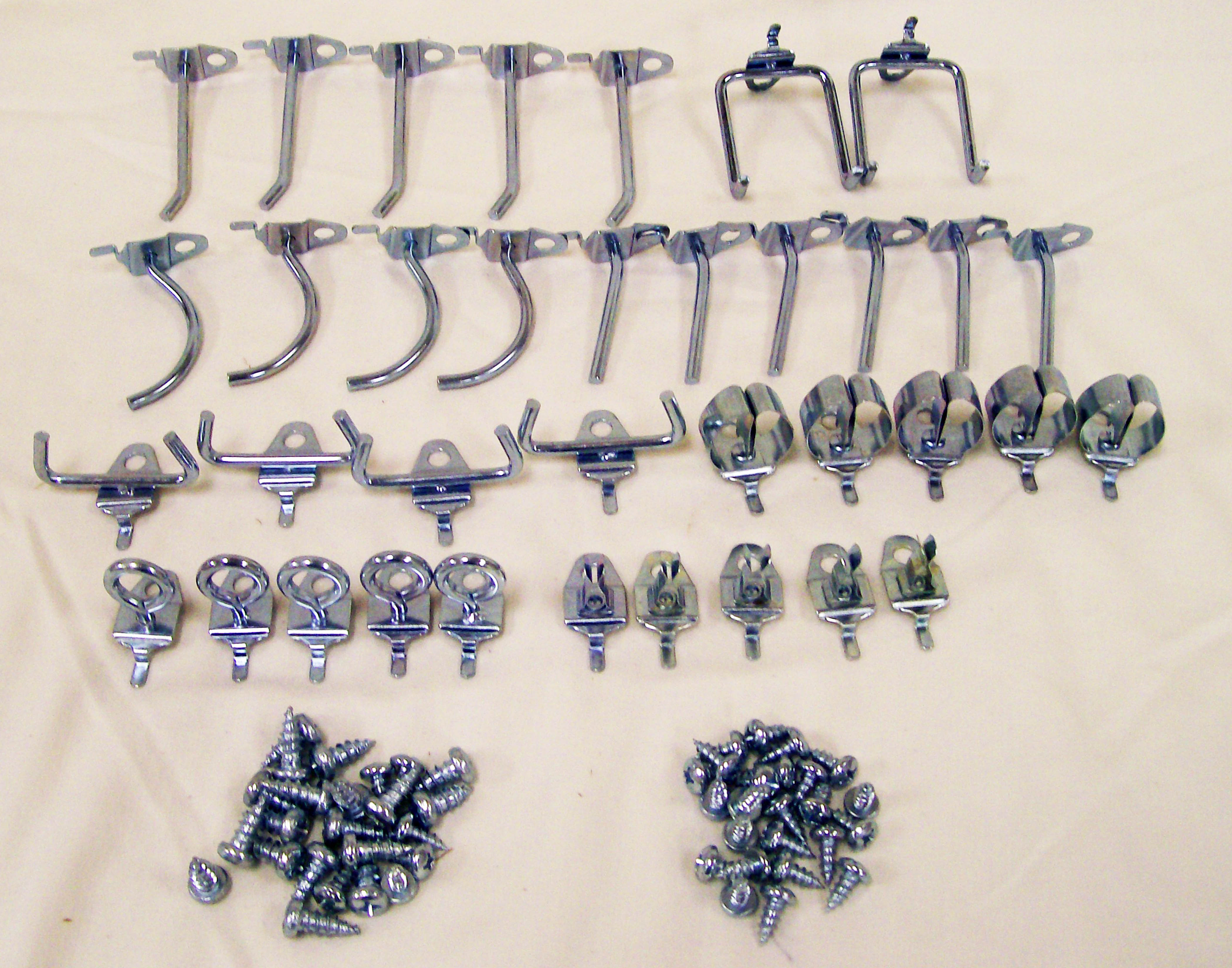 Epoxy-coated Steel Pegboard Shelf with Hooks - Thumbnail 1