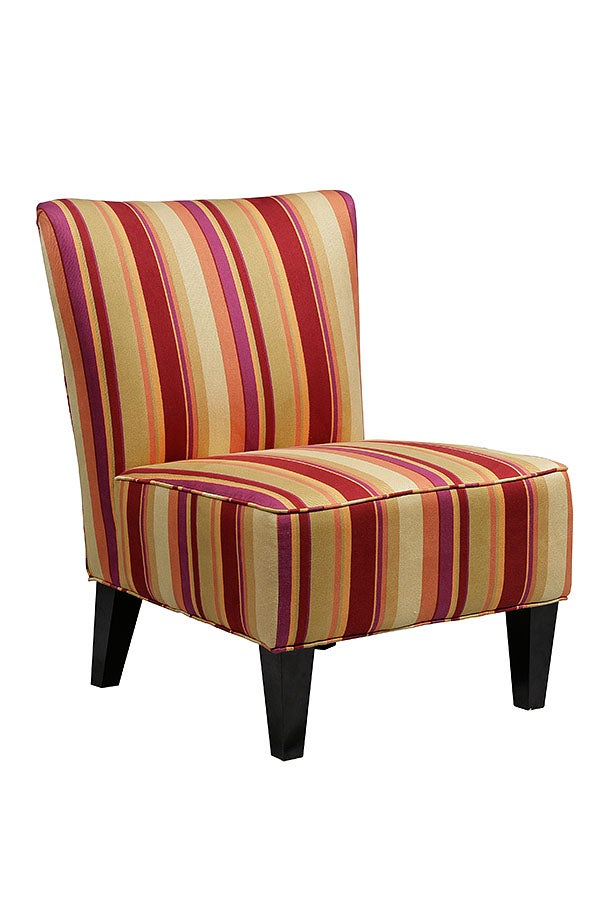 Thumbnail 2, Hali Armless Wine Red Stripe Chair. Changes active main hero.