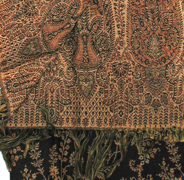 Woven Wool Black and Gold Jamawar Shawl (India)