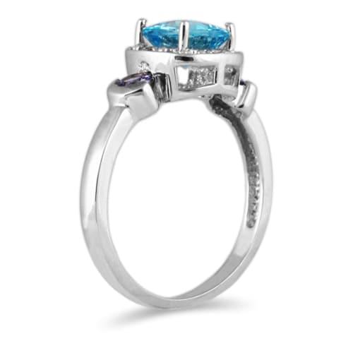 10k White Gold Blue Topaz and Tanzanite Ring
