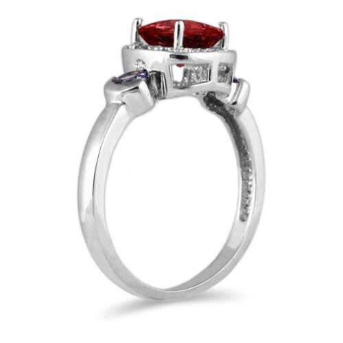 10k White Gold Garnet and Tanzanite Ring
