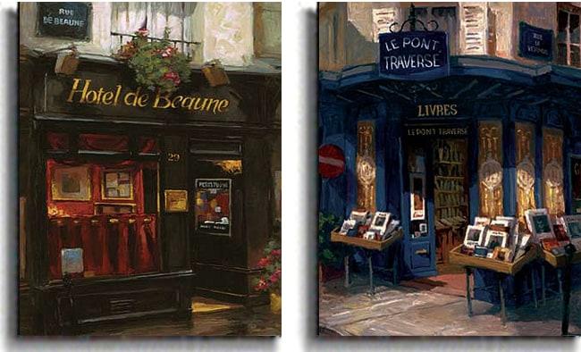 George Botich 'Paris Storefronts' Canvas Art Print 2-piece Set