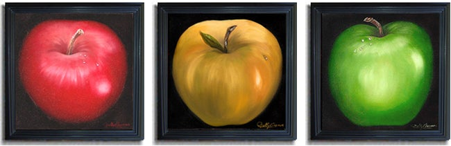 Nelly Arenas 'Apples' Framed Canvas Art 3-piece Set - Thumbnail 1