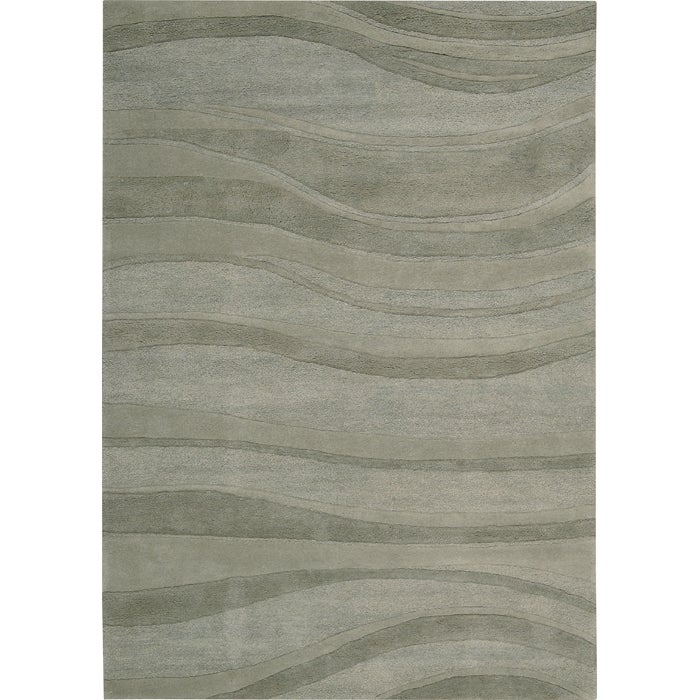 Nourison Natures Terrain Hand-tufted Rolling Waves Green Wool Rug (3'6 x 5'6) - Thumbnail 1