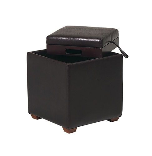Office Star Metro Storage Ottoman with Tray