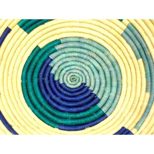 Large Blue/ Turquoise/ Natural Coil Basket (Uganda) - Thumbnail 1