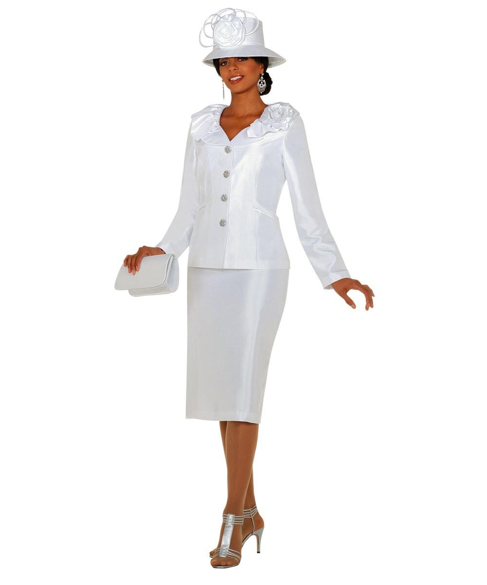 Divine Denim Women's Plus Size White Skirt Set - Thumbnail 1
