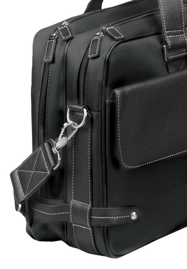 Biltmore Black Leather Briefcase Laptop Case - Thumbnail 1