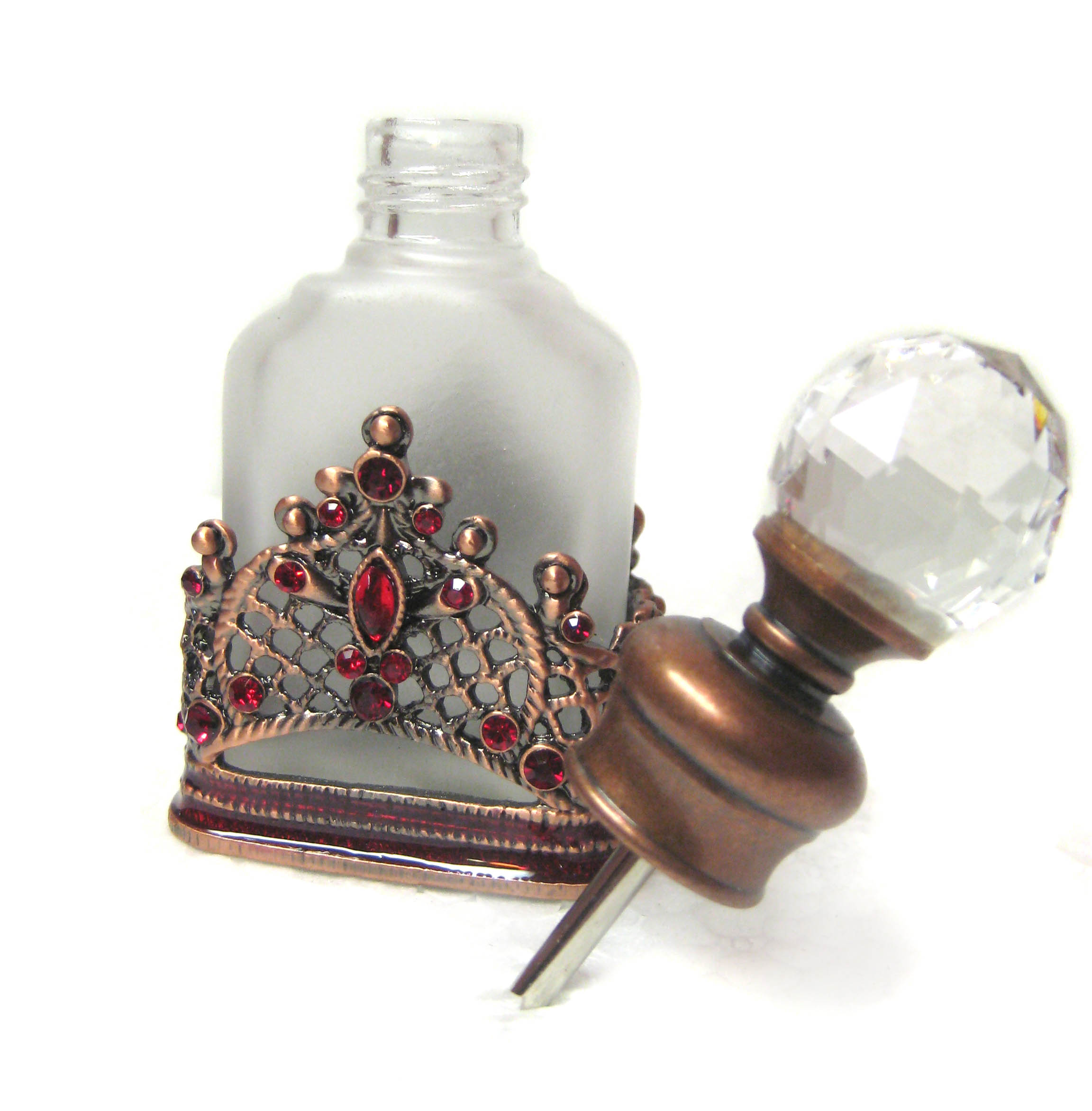 Kabella Victorian Design Frosted Red Perfume Bottle - Thumbnail 1