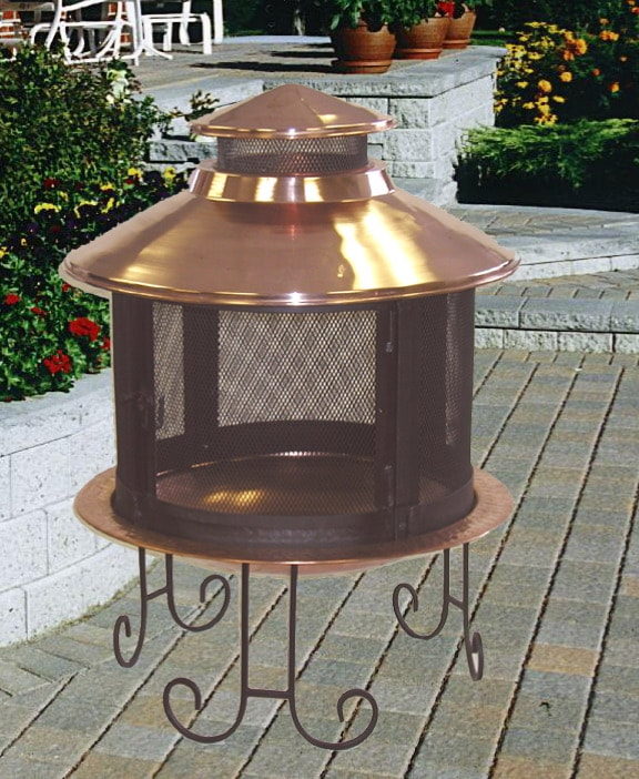 Shop Solid Copper Chiminea And Screen Free Shipping