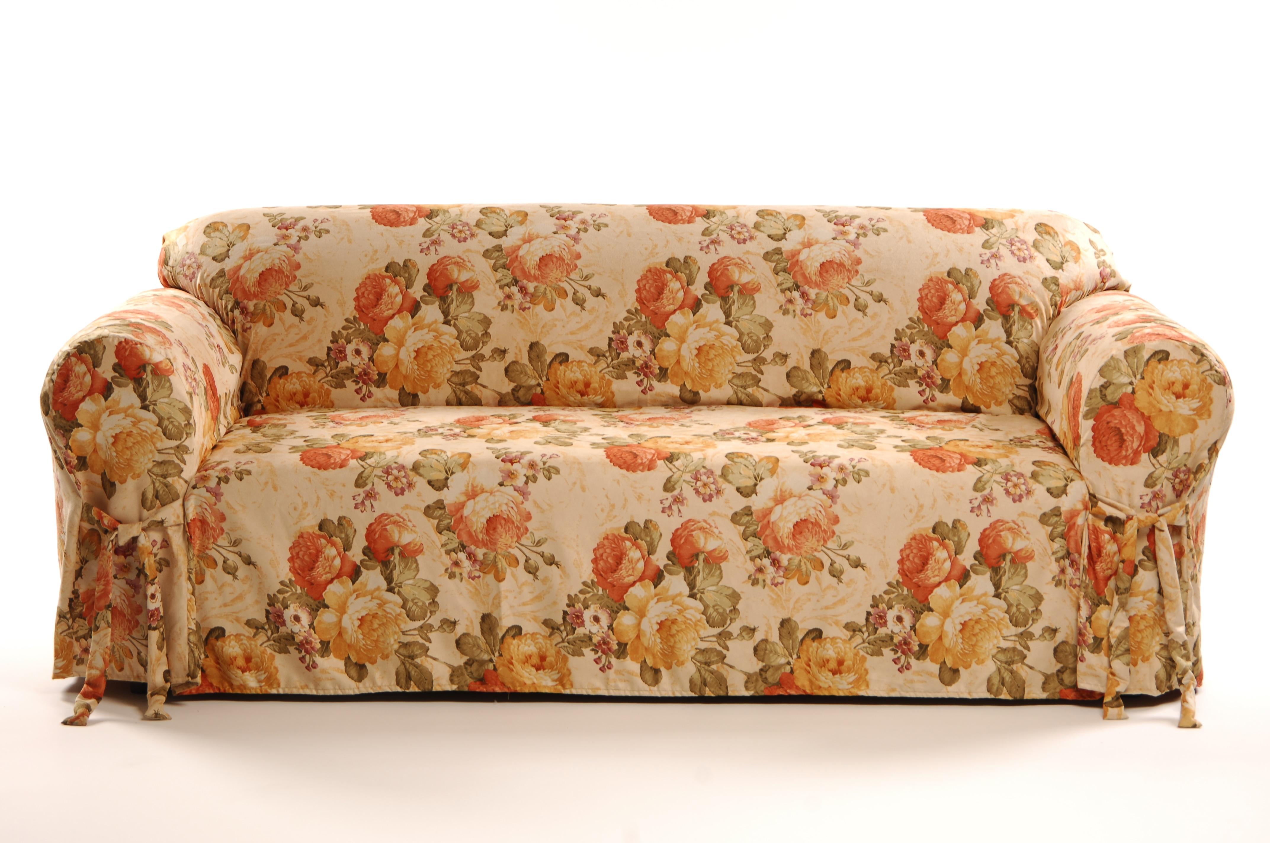 Shop Garden Floral Faux Suede Sofa Slipcover Free