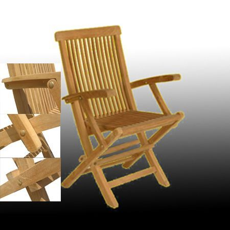 Solid Teak Classic Folding Armchair (Set of 2) - Thumbnail 1
