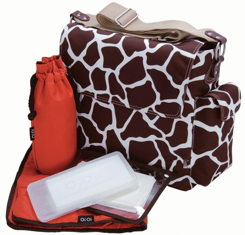 OiOi Cocoa Giraffe Print Messenger Diaper Bag