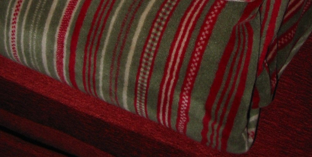 Red/ Sage Stripe Double-sided Throw Blanket - Thumbnail 1