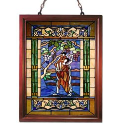 Tiffany-style Mother Holding Child Window Panel