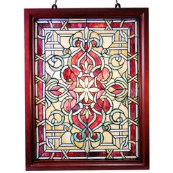 Tiffany-style Classic Wood Framed Window Panel
